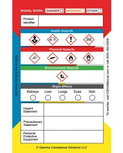 Secondary Container GHS Labels 3.5 x 2.25 in