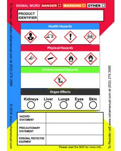 "Globally Harmonized System (GHS) Secondary Container Labels, 3.5"" x 2.5"", 100 Labels per Roll"