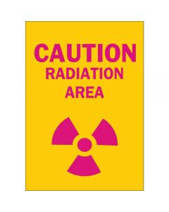 CAUTION RADIATION SIGN, VINYL, 10 in. H  X 7 in. W (Pack of 5)
