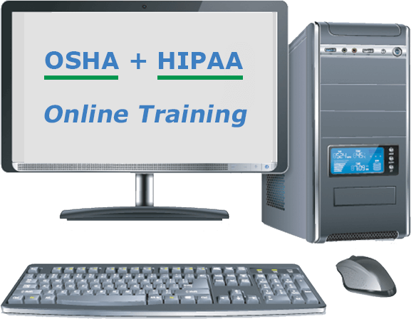 osha + hipaa online training image on computer screen